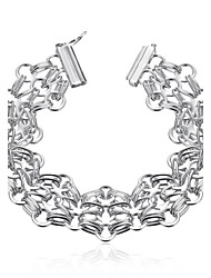 Lureme® Fashion Silver Plated Thick Round Link Chain Charm Bracelets for Women