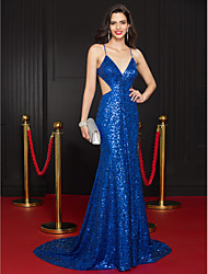 cheap -Mermaid / Trumpet Plunging Neckline Court Train Sequined Formal Evening Dress with Sequin by TS Couture®