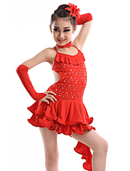 cheap -Latin Dance Dresses Performance Spandex / Sequined / Milk Fiber Crystals / Rhinestones Dress / Gloves / Neckwear