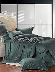 Dark green 100% Tencel Soft Bedding Sets Queen King Size Solid color Duvet Cover Set