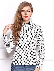 Women's Work Simple / Street chic Summer Shirt,Polka Dot Shirt Collar Long Sleeve White / Black Polyester Thin