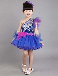Latin Dance Outfits Kid's Linen Sequin Sleeveless Dress Bracelets Headpieces