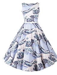 abordables -De las mujeres Línea A Vestido Fiesta/Cóctel Vintage,Floral Escote Redondo Hasta la Rodilla Sin Mangas Azul Pelo de Conejo Verano
