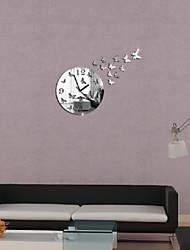 cheap -New Creative Butterfly Figure Promotion Luxury Diy 3d Mirror Wall Clock Watch Modern Large Decor