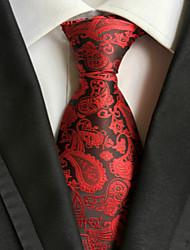 Men's Party/Evening Red Paisley JACQUARD WOVEN Necktie Necktie