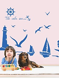 cheap -Natural Style Blue Sailing Boat Wall Sticker Tower Lovely Sea Gull Arts Decals Wallpaper Removable Diy Mural