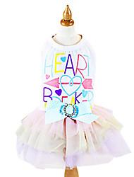 baratos -Cachorro Vestidos Roupas para Cães Carta e Número Laço Branco Algodão Ocasiões Especiais Para animais de estimação Homens Mulheres Fashion