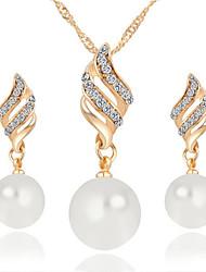 abordables -Mujer Diamante sintético Conjunto de joyas - Perla Incluir Collar / pendientes Plata / Dorado Para Boda / Fiesta / Diario