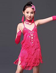 abordables -Danse latine Robes Enfant Utilisation Fibre de Lait Gland Robe Gants Tour de Cou Coiffure Short
