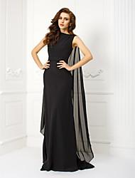 economico -A tubino Bateau Neck Strascico Watteau Chiffon Serata formale Vestito con Perline Fascia / fiocco in vita di TS Couture®