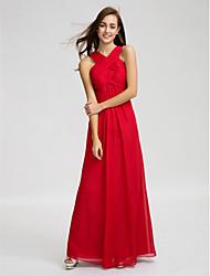 cheap -Sheath / Column V-neck Floor Length Chiffon Bridesmaid Dress with Draping Criss Cross Ruching by LAN TING BRIDE®