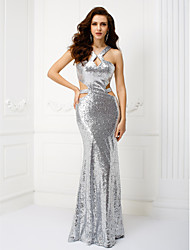 Sheath / Column Straps Floor Length Sequined Formal Evening Dress with Pleats Sequins by TS Couture®