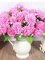 fiori artificiali 7 teste di alta qualità fiore di seta d'oro fiori di crisantemo fiore di seta per la decorazione domestica 1pc / set