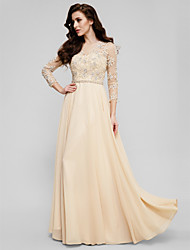 A Line Illusion Neck Floor Length Satin Chiffon Prom Formal Evening Dress With Beading Liques By Ts Couture Sleeve