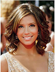 Short Length Curly Hair European Weave Light Brown  Hair Wig