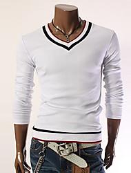preiswerte -Herren T-shirt-Einfarbig Büro Baumwolle / Polyester Lang-Schwarz / Rot / Weiß