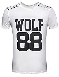 T-shirt Uomo Casual / Attività sportive Con stampe Cotone Manica corta-Nero / Bianco / Grigio