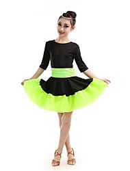 Dança Latina Vestidos Crianças Actuação Poliéster Plissado 1 Peça Meia manga Alto Vestido
