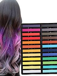 24 crayons de couleur de craie temporaires pour cheveux non-toxiques pastels de teintures capillaires collent les outils de coiffage diy