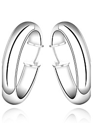 lureme®Fashion Style Silver Plated Smooth Round Shaped Hoop Earring