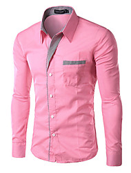 cheap -Men's Business Plus Size Cotton Slim Shirt - Solid Classic Collar