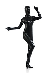 cheap -Shiny Zentai Suits Ninja Zentai Cosplay Costumes Black Solid Colored Leotard / Onesie Zentai Spandex Shiny Metallic Men's Women's