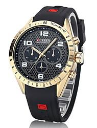 abordables -CURREN Hombre Reloj Militar Reloj de Pulsera Cuarzo Cuarzo Japonés Caucho Banda De Lujo Negro Azul Dorado Blanco Negro Azul