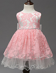 cheap -Girl's Pink / White Dress,Lace Polyester Summer