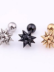 cheap -Men's Women's Stud Earrings Double Sided Punk Stainless Steel Jewelry For Daily Casual Sports
