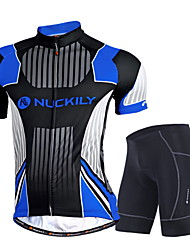 cheap -Nuckily Men's Short Sleeves Cycling Jersey with Shorts - Black Geometic Bike Clothing Suits, Quick Dry, Anatomic Design, Ultraviolet