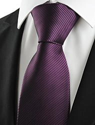 cheap -New Striped Plum Purple Men's Tie Formal Suit Necktie Wedding Holiday Gift #0024
