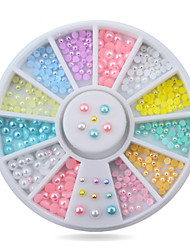 Hot Mix-colors Pearl Nail Art Stickers Tips Decoration Wheel Glitter Nail Rhinestone Decoration Tools