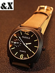 cheap -YAZOLE Men's Quartz Wrist Watch Hot Sale Leather Band Charm Black Brown
