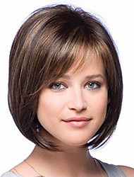 cheap -Synthetic Hair Wigs Straight Side Part Highlighted/Balayage Hair Bob Haircut With Bangs Natural Wigs Short Brown