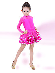 cheap -Latin Dance Dresses Children's Performance Cotton Spandex Crystals/Rhinestones Long Sleeves Natural Dress