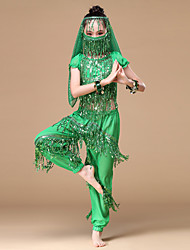 cheap -Belly Dance Outfits Performance Chiffon Sequin Gold Coin Tassel Dropped Top Pants Mask Bracelets Headwear