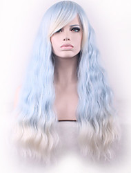 cheap -Europe and the United States Wig Corn Light Blue Gradient Meters White Iron Staining Synthetic Wigs.