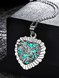 Women's Pendant Necklaces Alloy Flower Carved Green Blue Light Blue Jewelry Wedding Party Daily Casual Sports 1pc