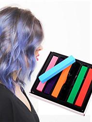 6 Farbe temporäre Kreide Wachsmalstiften für das Haar nicht-toxische Haarfärbemitteln Pastelle Stock DIY Styling-Tools