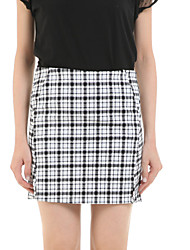 cheap -Women's Casual Street chic Pencil Skirts - Check