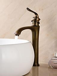 Antik deckenmontiert Einhand Ein Loch in Antikes Messing Waschbecken Wasserhahn