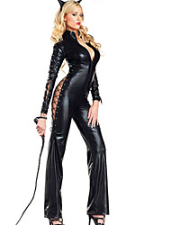 Women's PVC wetlook   High Tall Leather Catsuit
