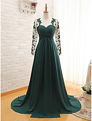 cheap -A-Line Sweetheart Sweep / Brush Train Chiffon Formal Evening Dress with Appliques Pleats by Weishang