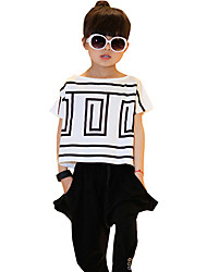 cheap -Girls' Daily Striped Clothing Set, Cotton Summer Short Sleeves Stripes White Black