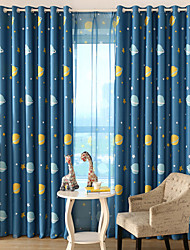 Rod Pocket Grommet Top Tab Top Double Pleat Pencil Pleat Two Panels Curtain Modern , Print Cartoon Kids Room Polyester Material Blackout