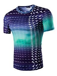 cheap -Men's Daily Sports T-shirt,Print Short Sleeves Cotton