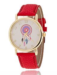 preiswerte -Damen Modeuhr Quartz Armbanduhren für den Alltag PU Band Blume Glanz Schwarz Weiß Rot Grün Lila Gelb