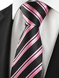 cheap -KissTies Men's Striped Pink Black Microfiber Tie Necktie For Wedding Party Holiday With Gift Box