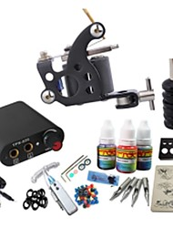 cheap -Starter Tattoo Kit 1 steel machine liner & shader Tattoo Machine Mini power supply 1 × 20ml Tattoo Ink 1 x aluminum grip