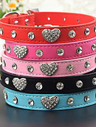 Cat / Dog Collar / Leash Rhinestone Hearts Red / Black / Blue / Pink PU Leather